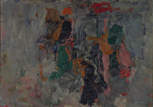 Philip Guston (1913–1980), Abstraction, 1957. Oil on paper mounted on board, 24 1/2 x 35 1/2 in. (62.2 x 90.2 cm). Grey Art Gallery, New York University Art Collection. Gift of Guy Weill, 1966.41. © Estate of Philip Guston. Courtesy McKee Gallery