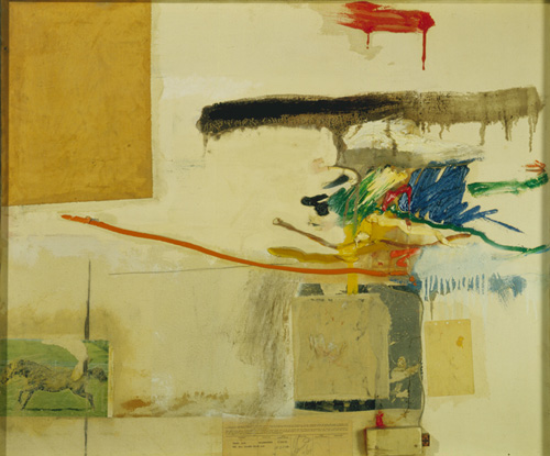 Robert Rauschenberg (born 1925), Untitled (formerly titled Collage with Horse),1957. Oil, plain and printed papers, wood, and fabric on canvas, 30 3/4 x 36 3/4 in. (78.1 x 93.3 cm). Grey Art Gallery, New York University Art Collection. Gift of Philip Johnson, 1961.34. © Robert Rauschenberg. Licensed by VAGA, New York, NY