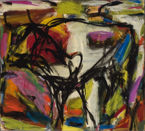 Elaine de Kooning (1918–1989), Bull, 1958, Oil on canvas, 72 x 84 in. (182.9 x 213.4 cm). Grey Art Gallery, New York University Art Collection. Gift of Harold Diamond, 1961.42.