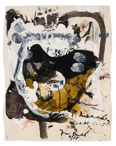 Helen Frankenthaler (born 1928), Untitled, 1958. Painting and collage on paper, 8 1/2 x 11 in. (21.6 x 27.9 cm). Grey Art Gallery, New York University Art Collection. Anonymous gift, 1964.59. © 2008 Helen Frankenthaler