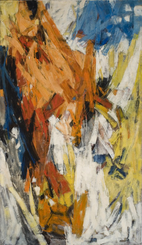 Hale Woodruff (1900–1980), Blue Intrusion, 1958. Oil on canvas, 70 x 40 in. (177.8 x 101.6 cm). Grey Art Gallery, New York University Art Collection. Anonymous gift, 1958.35. © Estate of Hale Woodruff/Elnora, Inc. Courtesy of Michael Rosenfeld Gallery, LLC, NY, NY