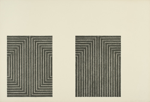 Frank Stella (born 1936), Black Series I, 1967. Lithographs on paper, 45/100, 15 x 21 7/8 in. (38.1 x 55.6 cm) each. Grey Art Gallery, New York University Art Collection. Gift of Paul J. Schupf, 1970.117. © Frank Stella. Artists Rights Society (ARS), New York