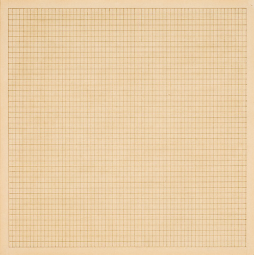 Agnes Martin (1912–2004), Wood #4, 1964. Ink on paper, 8 15/16 x 8 15/16 in. (22.7 x 22.7 cm). Grey Art Gallery, New York University Art Collection. Gift of Edward Albee, 1970.110. © 2007 Agnes Martin. Artists Rights Society (ARS), New York