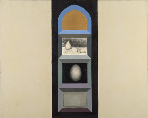 Miriam Schapiro (born 1923), Shrine (for R.K.) II, 1963. Oil on canvas, 28 3/4 x 36 13/16 in. (73 x 93.5 cm). Grey Art Gallery, New York University Art Collection. Gift of Mr. and Mrs. Harry Kahn, 1978.45. © Miriam Schapiro