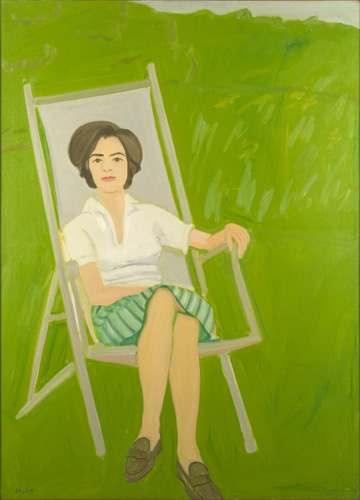 Alex Katz (born 1927), Ada Seated, 1963. Oil on canvas, 60 1/2 x 43 1/4 in. (153.7 x 111.1 cm). Grey Art Gallery, New York University Art Collection. Gift of Mr. and Mrs. Henry Fischbach, 1964.32. © Alex Katz. Licensed by VAGA, New York, NY