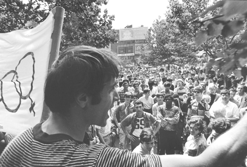 Fred W. McDarrah, Marty Robinson in a Rally in Front of Stonewall, Sheridan Square Park, 1969 Gelatin silver print, 11 x 14 in. The Fred W. McDarrah Gay Pride Photographs Collection
