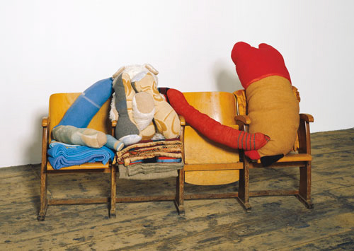 Berlinde De Bruyckere Untitled, 2003 Wooden cinema seats, fabric collage, and woolen blankets Heather and Tony Podesta Collection