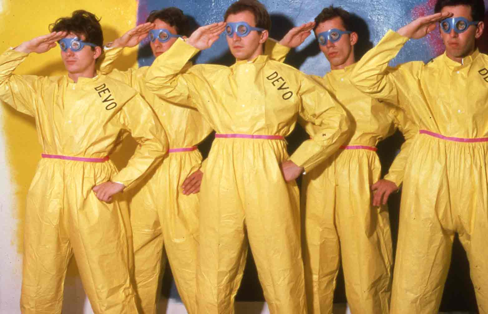 """DEVO: AIRBORNE, JANUARY 6, 1978, 1978. Photo: Bruce Conner"