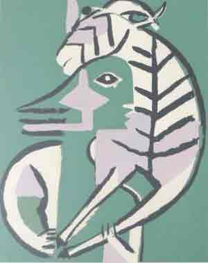 Bedri Rahmi Eyüboglu, Man Carrying a Goat, 1956. Silkscreen on paper, 14 ½ x 23 ½ in. Grey Art Gallery, New York University Art Collection. Gift of Abby Weed Grey, G1975.243